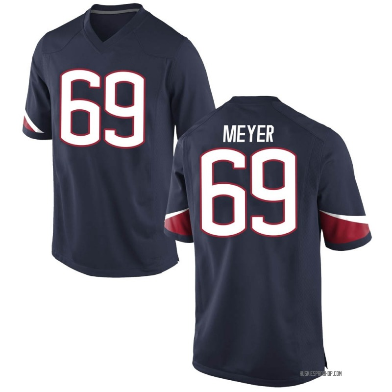 Game Men's Will Meyer UConn Huskies Navy Football College Jersey