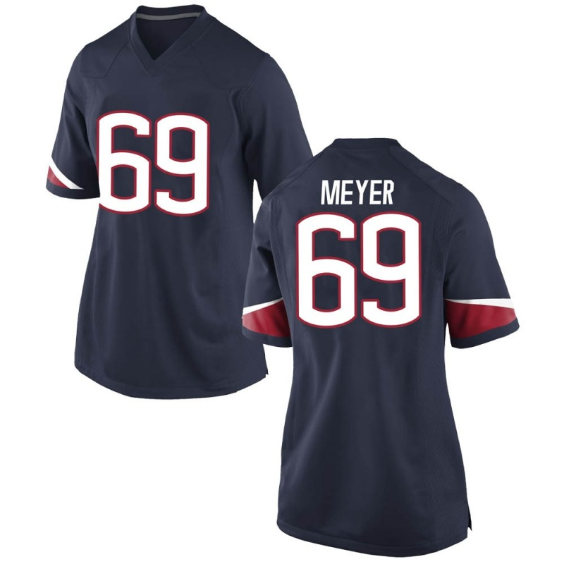 Game Women's Will Meyer UConn Huskies Navy Football College Jersey